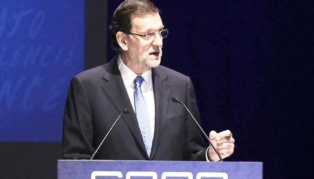 Mariano Rajoy, durante su intervención en la clausura de la asamblea general de la CEOE celebrada este martes en Madrid