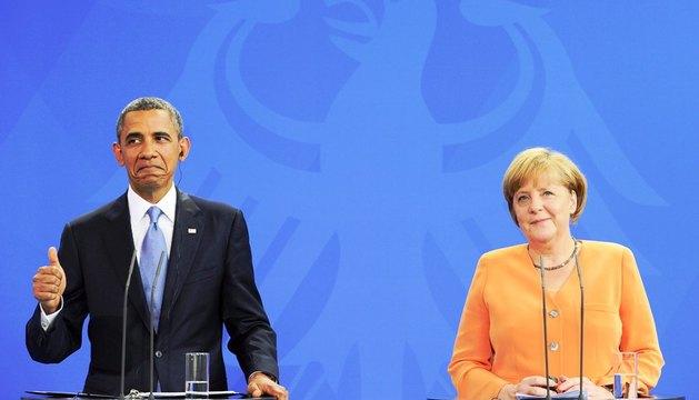 El presidente de Estados Unidos, Barack Obama, y la canciller alemana Angela Merkel