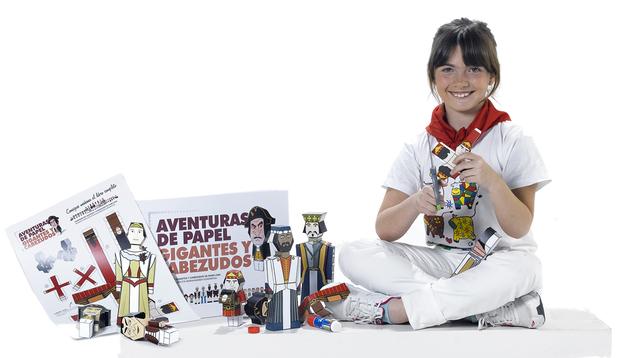 Imagen de la promoción del libro de recortables de los Gigantes y Cabezudos de Pamplona