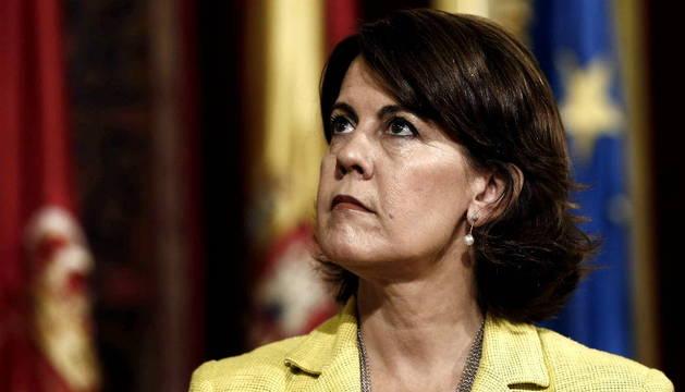 Barcina, en una recepción este jueves en el Palacio de Navarra.