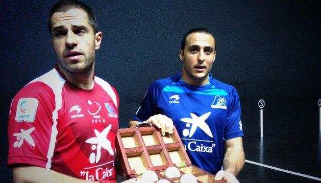 Aimar Olaizola y Juan Martínez de Irujo, este jueves, en Bilbao