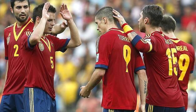 España venció a la selección de Tahití en el encuentro de la Copa Confederaciones disputado en el estadio brasileño de Maracaná por un contundente 10-0