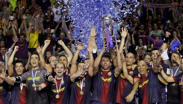 El Barcelona celebra su título de Liga