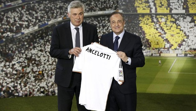 Carlo Ancelotti, junto a Florentino Pérez