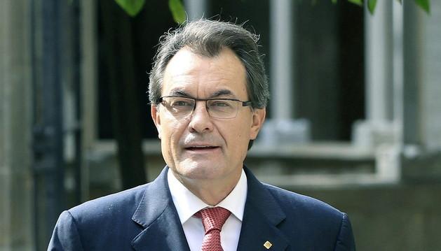 El presidente de la Generalitat, Artur Mas, a su llegada a la reunión de Govern.