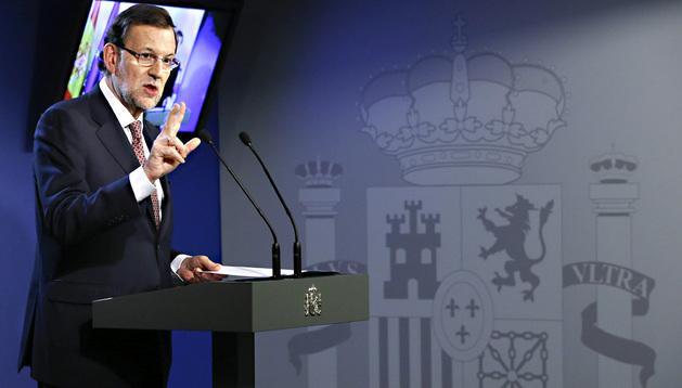 Mariano Rajoy ofrece una rueda de prensa al final de la cumbre de jefes de Estado y de Gobierno de la Unión Europea (UE), en Bruselas, este viernes 28 de junio