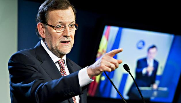 El presidente del Gobierno español, Mariano Rajoy, durante una rueda de prensa reciente en Bruselas