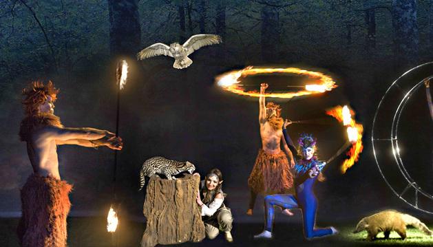 Distintos personajes del espectáculo nocturno de Sendaviva y algunos de los animales.