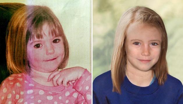 La imagen de la izquierda es de cuando Maddeleine desapareció y la de la derecha es de cómo sería la niña con diez años.