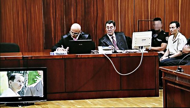 Imagen tomada del monitor de la sala de prensa de la Audiencia Provincial de Córdoba, donde continúa el juicio a José Bretón
