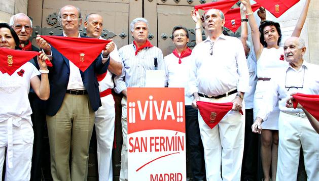 El cocinero navarro Pedro Larumbe fue el encargado de lanzar el chupinazo en los Sanfermines del año pasado en Madrid.