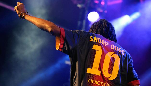 El rapero y actor californiano Snood Dogg, durante el concierto ofrecido esta noche en el Fórum de Barcelona en la última jornada del Festival Cruilla