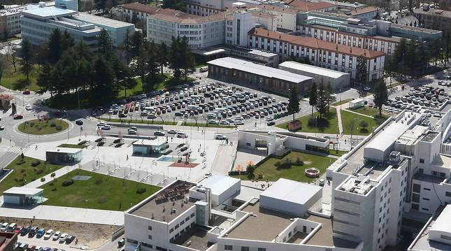Vista aérea, del Complejo Hospitalario de Navarra.