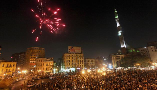 Seguidores de Mohamed Mursi, concentrados en Ramsis, El Cairo.