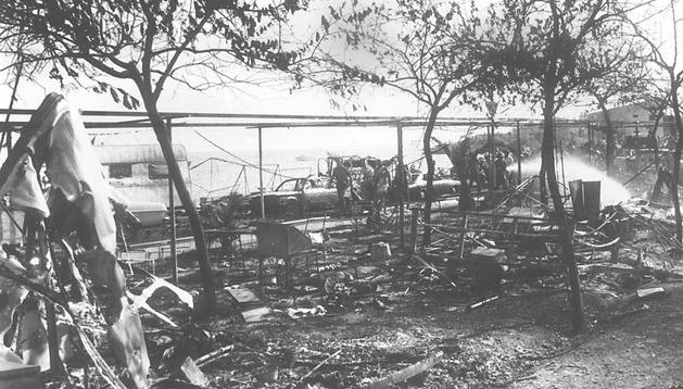 Estado en el que quedó el cámping de Los Alfaques (Tarragona) tras la explosión del camión cisterna