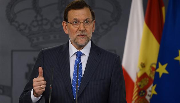 Mariano Rajoy, durante su primera comparecencia publica en la que habla del caso Bárcenas tras las revelaciones del acusado.