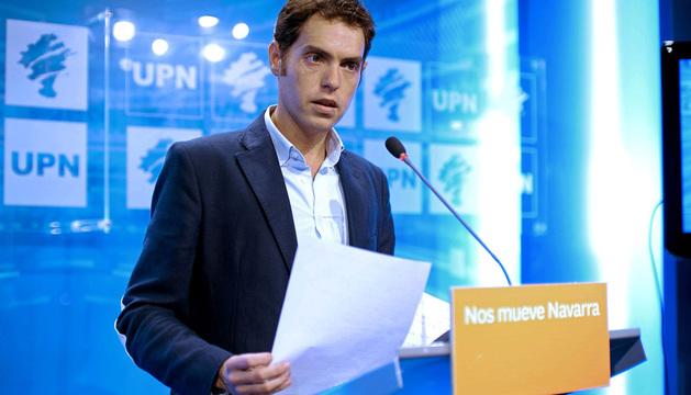 Sergio Sayas, durante la conferencia de prensa que ha ofrecido este martes en Pamplona