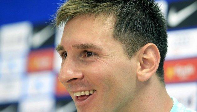 Leo Messi, durante la rueda de prensa que ha concedido