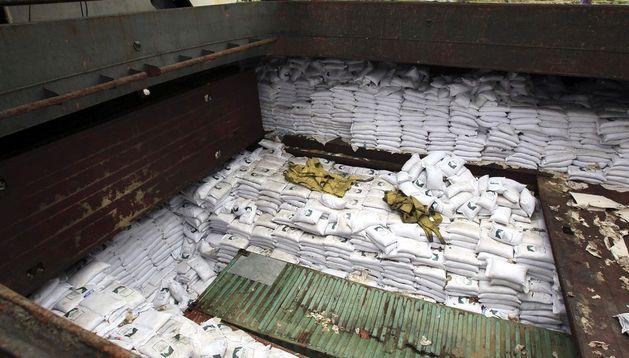 Bodega del barco de bandera norcoreana en el cual las autoridades de Panamá hallaron