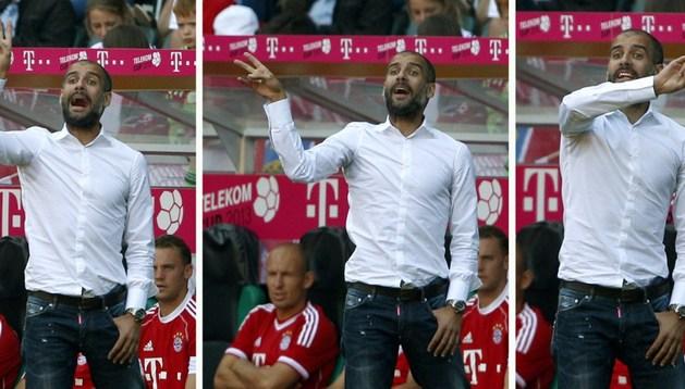 Pep Guardiola, durante el partido que su equipo jugó ante el Hamburgo
