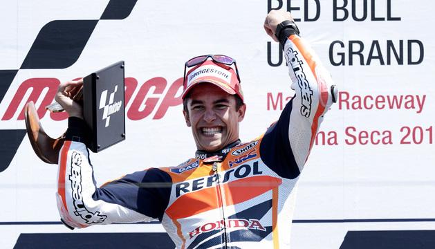 El piloto español Marc Márquez celebra su victoria en Estados Unidos.