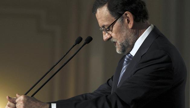 El presidente del Gobierno y del PP, Mariano Rajoy, durante su intervención en el desayuno informativo organizado por Nueva Economía Fórum.