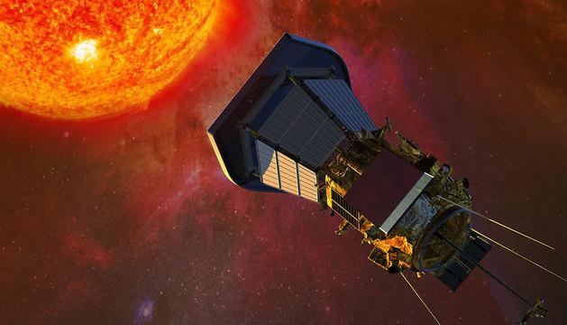 La nave espacial Solar Probe Plus con el Sol de fondo.