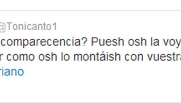 Pantalla del comentario de Toni Cantó en Twitter