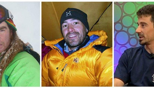 Los montañeros Xevi Gomez, Abel Alonso y Álvaro Paredes (de izda a dcha)