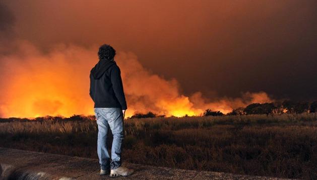 Un hombre mira cómo arde la Reserva Ecológica de Buenos Aires
