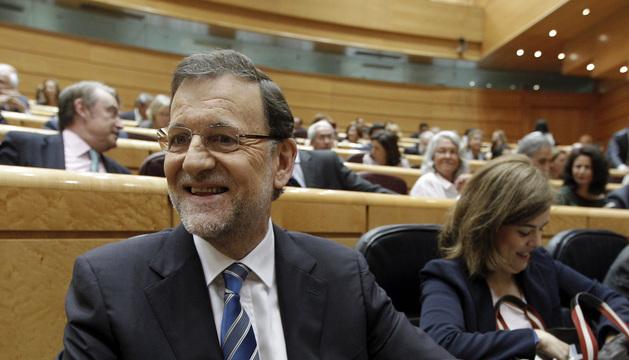 El presidente del Gobierno, Mariano Rajoy, momentos antes de comparecer ante el pleno del Congreso.
