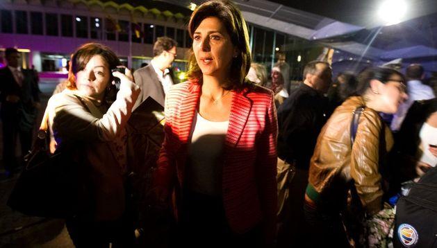 La canciller de Colombia, María Ángela Holguín (c), a su llegada a Venezuela.