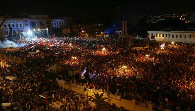 Vista aérea de los manifestantes en Túnez