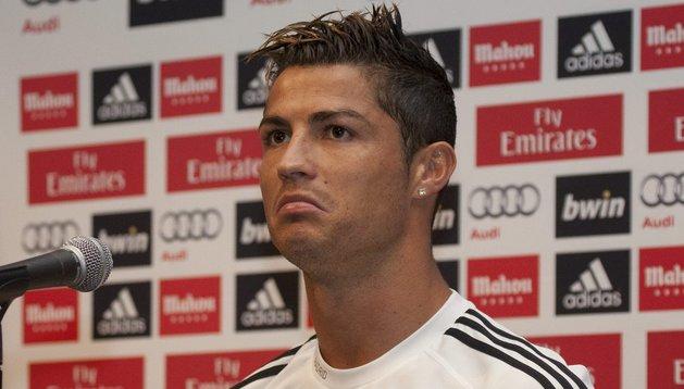 Cristiano Ronaldo, durante la rueda de prensa que ha concedido en Los Angeles
