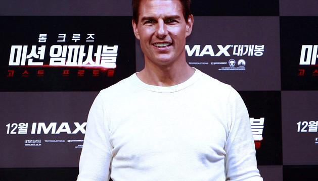 Tom Cruise en la presentación de Mision Imposible 4