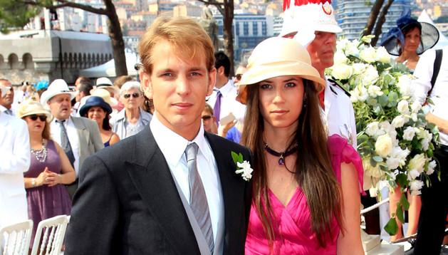 Andrea Casiraghi y Tatiana Santo Domingo en la boda de Alberto de Mónaco