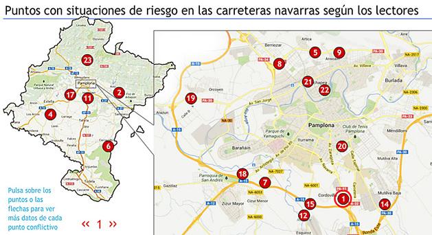 Parte del mapa interactivo que recoge los principales puntos negros señalados por los lectores.