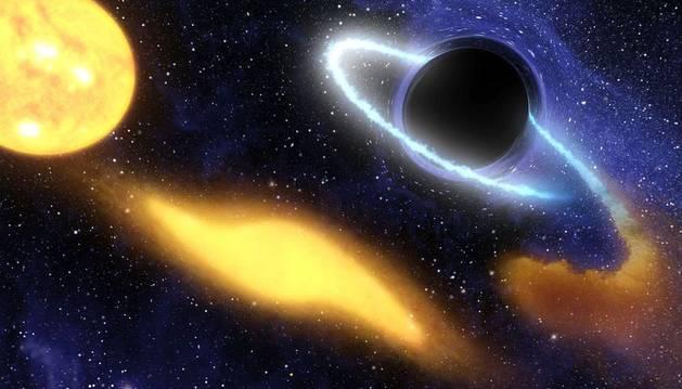 Reconstrucción de la NASA de como un agujero negro engulle una estrella.