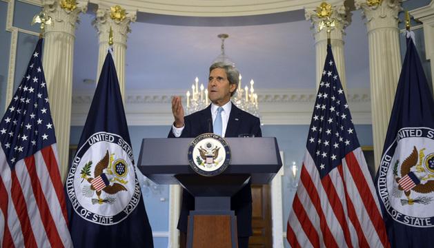 El secretario de Estado de EE.UU., John Kerry, durante las declaraciones sobre Siria.