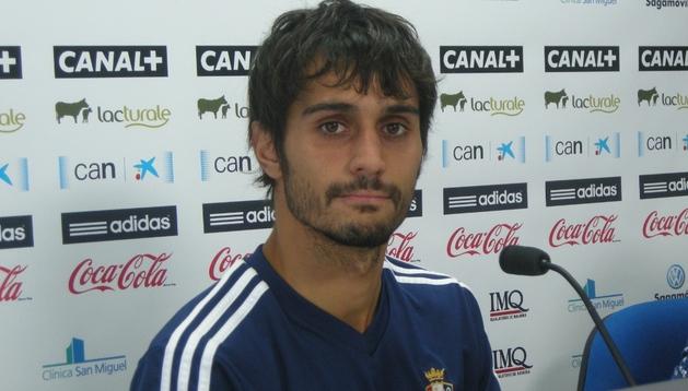 Alejandro Arribas, durante la rueda de prensa que ha concedido este domingo en Tajonar