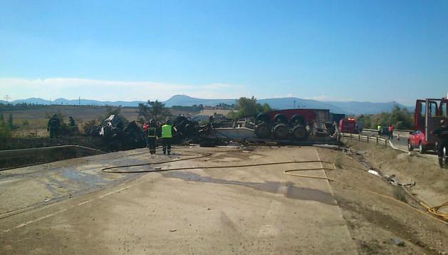 Accidente en la AP15  a la altura de Esquíroz en el que ha fallecido una persona