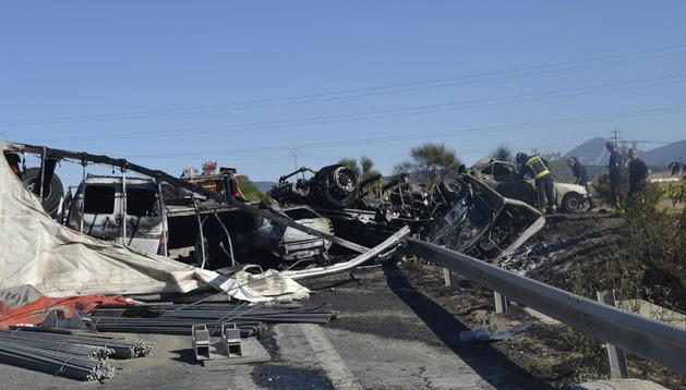 Accidente en la AP15  a la altura de Esquíroz en el que ha fallecido una persona.