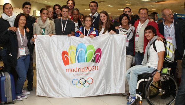 Integrantes de la delegación de apoyo a la candidatura de Madrid como sede de los Juegos Olímpicos de 2020