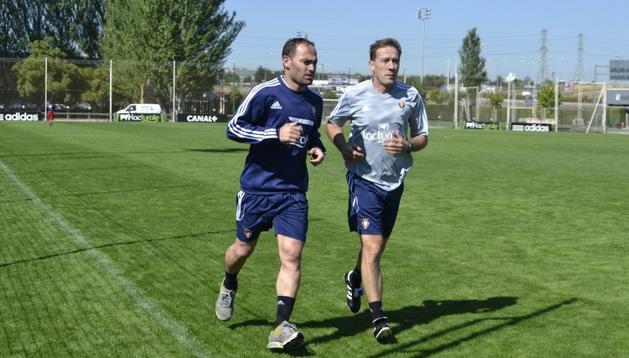 Nino ha corrido este lunes junto al readaptador físico del equipo, Josu Sesma