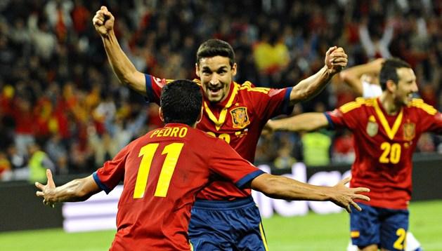 Jesús Navas celebra el gol del empate ante Chile (2-2).