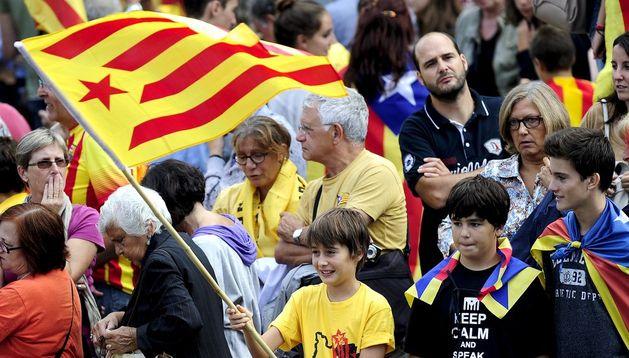 Banderas catalanas en la Diada.