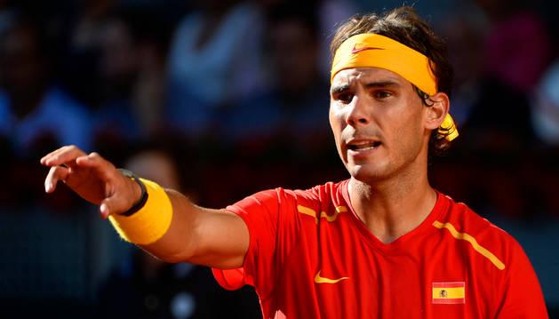 Rafael Nadal, durante su partido de Copa Davis