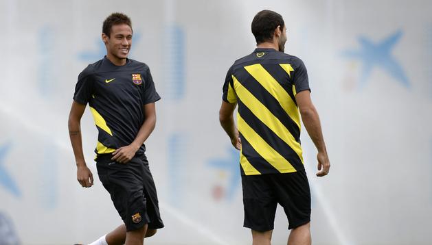 Neymar, durante el entrenamiento de este martes