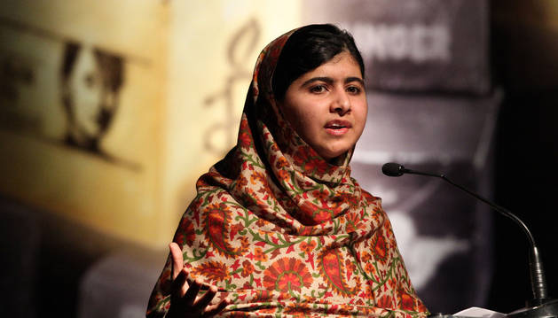 Malala Yousafzai, la niña paquistaní tiroteada por extremistas musulmanes.