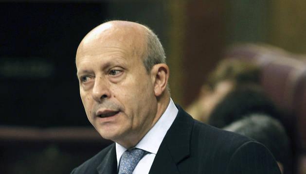El ministro de Educación, Cultura y Deporte, José Ignacio Wert, durante su intervención en el pleno del Congreso.